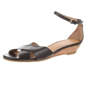 Marc by Marc Jacobs leather cork wedge flats